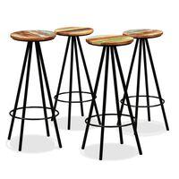 vidaXL Barové stoličky 4 ks, recyklovaný masív