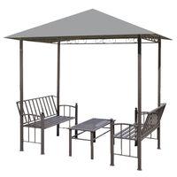 vidaXL Záhradný altánok so stolom a lavicami antracitový 2,5x1,5x2,4 m
