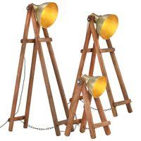 vidaXL Stojanové lampy 3 ks mosadzné E27 masívne mangovníkové drevo