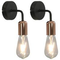 vidaXL Nástenné svietidlá 2 ks s vláknovými žiarovkami čierne a medené 2 W E27