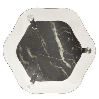 vidaXL Bočný stolík s 2 policami priehľadný a čierny 38x38x50 cm tvrdené sklo