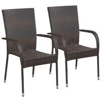 vidaXL Stohovateľné záhradné stoličky 2 ks, polyratan, hnedé