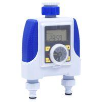 vidaXL Elektronický vodný časovač s dvoma výstupmi a s oneskorením pri daždi