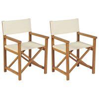 vidaXL Skladacie režisérske stoličky 2 ks, tíkový masív