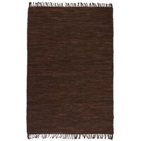vidaXL Ručne tkaný Chindi koberec, koža, 120x170 cm, hnedý
