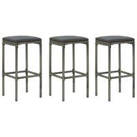 vidaXL Barové stoličky s vankúšmi 3 ks sivé polyratan