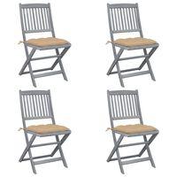 vidaXL Skladacie vonkajšie stoličky s podložkami 4 ks akáciový masív