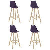 vidaXL Barové stoličky 4 ks tmavofialové PP a masívne bukové drevo
