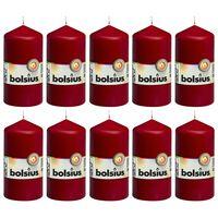 Bolsius Valcové sviečky 10 ks 120x58 mm vínovo-červené