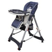 vidaXL Detská stolička, deluxe, tmavomodrá, nastaviteľná výška