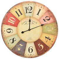 vidaXL Vintage nástenné hodiny 60 cm rôznofarebné