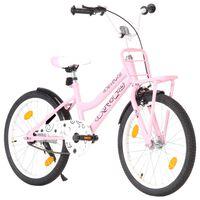 vidaXL Detský bicykel s predným nosičom ružovo-čierny 20 palcový