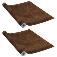 vidaXL Samolepiace tapety na nábytok 2 ks, tmavý dub 500x90 cm, PVC
