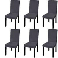 vidaXL Rovný napínací poťah na stoličku, 6 ks, antracitový