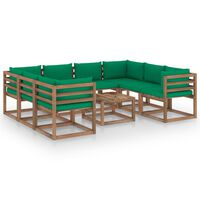 vidaXL 9-dielna záhradná sedacia súprava so zelenými podložkami