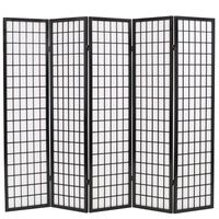 vidaXL Skladací paraván s 5 panelmi, japonský štýl 200x170 cm, čierny