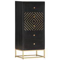 vidaXL Zásuvková skrinka čierna 45x30x105 cm masívne mangovníkové drevo