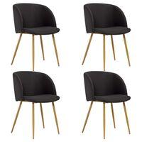 vidaXL Jedálenské stoličky 4 ks čierne látkové