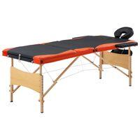 vidaXL Skladací masážny stôl, 3 zóny, drevo, čierno oranžový