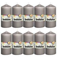 Bolsius Valcové sviečky 10 ks 120x58 mm teplé sivé