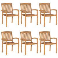 vidaXL Stohovateľné záhradné stoličky 6 ks tíkový masív