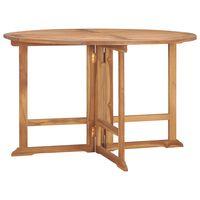 vidaXL Skladací záhradný jedálenský stôl Ø120x75 cm tíkový masív