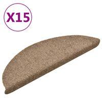vidaXL Samolepiace nášľapy na schody 15 ks krémové 56x17x3 cm vpichovaná textília