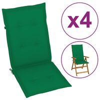 vidaXL Podložky na záhradné stoličky 4 ks, zelené 120x50x4 cm