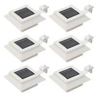 vidaXL Vonkajšie solárne svietidlá 6 ks biele 12 cm LED štvorcové
