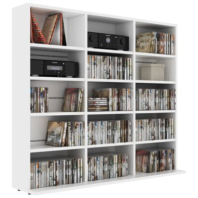 vidaXL Skrinka na CD, biela 102x23x89,5 cm, drevotrieska