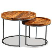 vidaXL Súprava 2 bočných stolíkov, masívne mangovníkové drevo