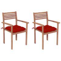 vidaXL Záhradné stoličky 2 ks červené podložky teakový masív