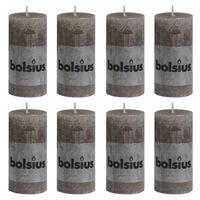 Bolsius Rustikálne valcové sviečky 8 ks 100x50 mm, sivohnedé