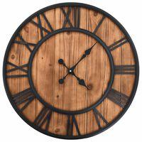 vidaXL Vintage nástenné hodiny s pohonom Quartz drevo a kov 60 cm XXL