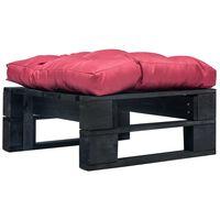 vidaXL Záhradná taburetka z paliet, červená podložka, čierna, drevo