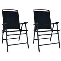vidaXL Skladacie záhradné stoličky 2 ks, textilén, čierne