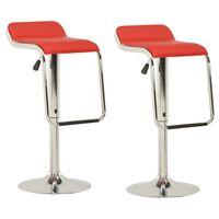 vidaXL Barové stoličky 2 ks červené látka a ohýbané drevo