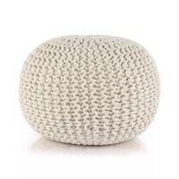 vidaXL Ručne pletená bavlnená taburetka, 50x35 cm, biela