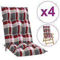 vidaXL Podložky na záhradné stoličky 4ks,červené, kockované 120x50x7cm