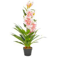 vidaXL Umelá rastlina, ľalia s kvetináčom, ružová 90 cm