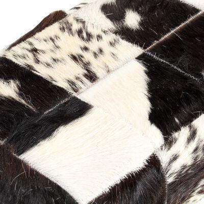 vidaXL Lavička 110 cm čierna štýl patchwork pravá kozia koža