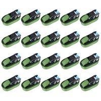 vidaXL Upínacie popruhy s račňou 20 ks 800 daN 6 m zelené