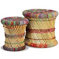vidaXL Stoličky s prvkami chindi 2 ks, rôznofarebné, bambus