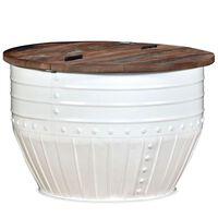 vidaXL Konferenčný stolík, recyklovaný masív, biely, tvar sudu
