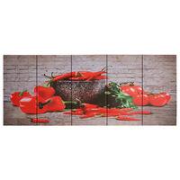 vidaXL Sada nástenných obrazov na plátne Paprika rôznofarebná 200x80 cm