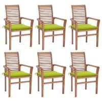 vidaXL Jedálenské stoličky 6 ks jasnozelené podložky tíkový masív