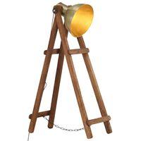 vidaXL Stojanová lampa mosadzná masívne mangovníkové drevo E27