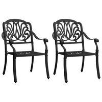 vidaXL Záhradné stoličky 2 ks odlievaný hliník čierne