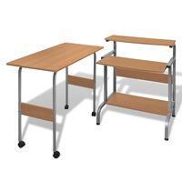 Hnedý nastaviteľný počítačový stôl a pracovná stanica