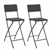 vidaXL Skladacie barové stoličky 2ks, HDPE+oceľ,hnedé, ratanový vzhľad